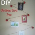 DIY Christmas Card tree ~ simple and affordable homemade way to display your Christmas cards. Even the kids can help with this!