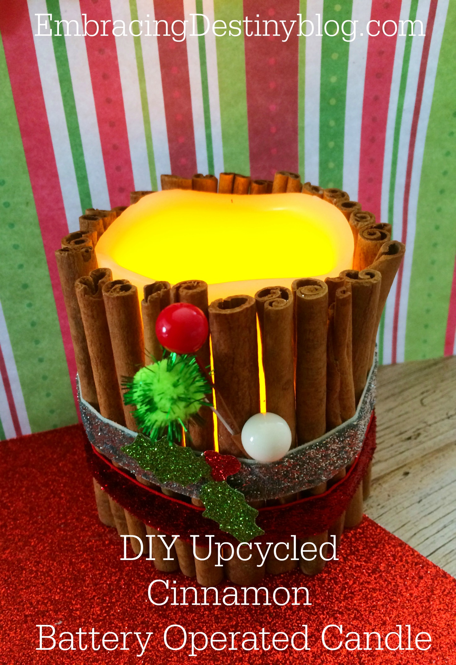 DIY Upcycled Cinnamon Battery Operated Candle